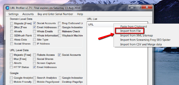 How to get contacts using URL Profiler - Easy Easy Apps